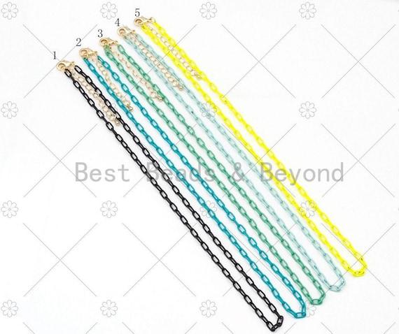 "NEW STYLE!!! 3.5mm Enamel Paperclip Chain Bracelet/Necklace, 7""/16""/18""/20""/22""/30""/36"" Wholesale Paper Clip Chains Necklaces, sku#EF76"