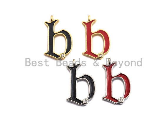 Enamel pave alphabet letter, Alphabet Charms, Initial Alphabet Letters, Custom Naming Pendants, Initial Letter b Pendant,13x23mm,sku#B124