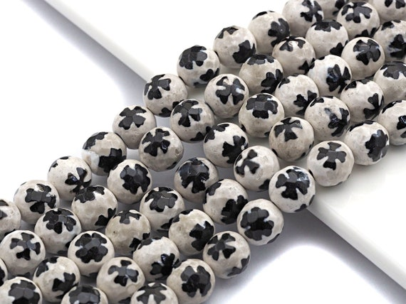 Quality Dzi Black White Aage with Flower Patten Beads, Round Faceted Tibetan Agate, 10mm beads, 15.5inch strand, SKU#U558
