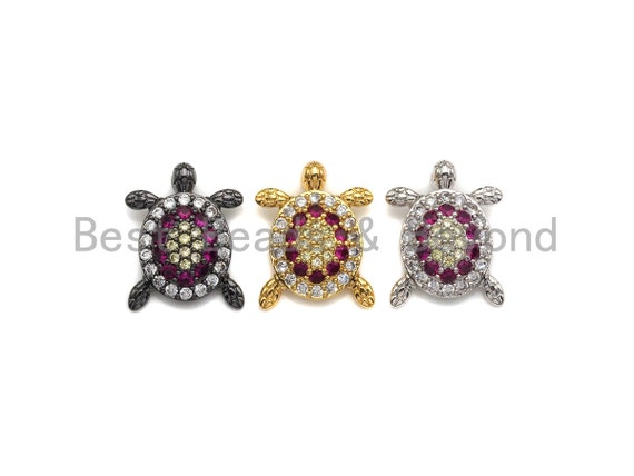 Colorful CZ Micro Pave Tortoise Shape Pendant,Cubic Zirconia Tortoise Charm,Gold/Silver/Black Tone, 18X23mm,sku#Z724