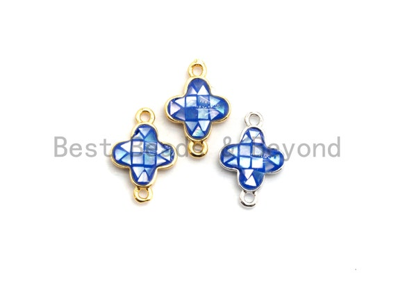 100% Natural Shell Blue Clover Connector with Gold/Silver Plated Edging, Natural Blue Shell, Ocean Jewelry, 10x15mm,SKU#Z290