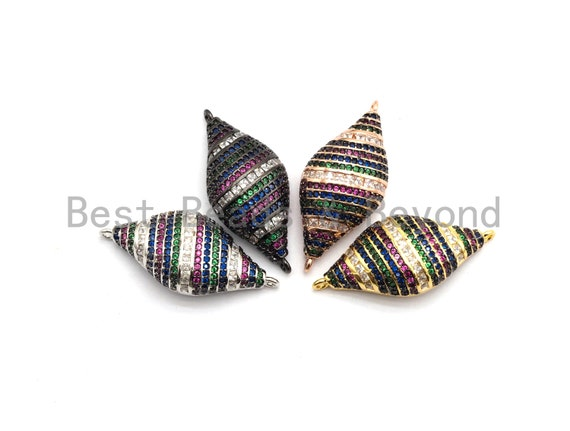 PRE-SELLING Rainbow CZ Micro Pave Spiral Shell Shape Connector for Bracelet/Necklace, Shell Connector, Spacer Connector, 15x33mm,sku#E439