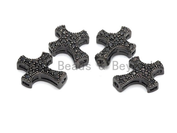 Black CZ Pave On Black Micro Pave Cross Spacer Beads with Black Crystal for Bracelet/Necklace, Spacer Beads, 14x11mm, sku#C100