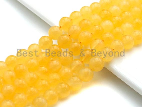 "Quality Natural Yellow Calcite beads, 6mm/8mm/10mm/12mm Round Smooth Beads, Natural Gemstone Beads, 15.5"" Full Strand, sku#U615"