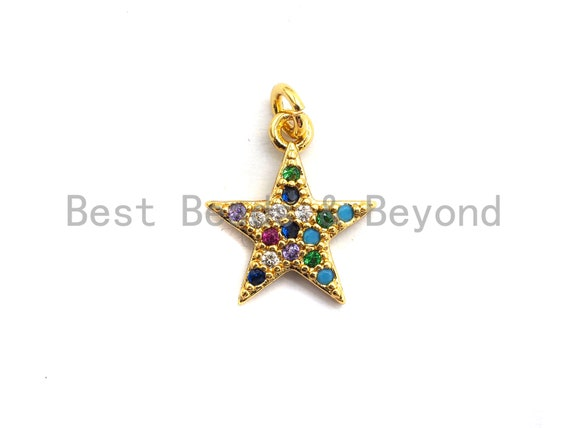 PRE-SELLING CZ Colorful Micro Pave Five Point Star Pendant, Five Point Star Shaped Pave Pendant, Gold plated, 12x14mm, Sku#F753