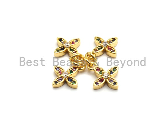 Pre-Selling CZ Colorful Micro Pave Gold Flower Charm/Pendant, Flower Shaped Pave Pendant, Gold plated, 10x12mm, Sku#F732
