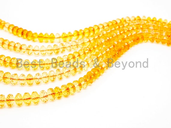Quality Natural Citrine Beads, Rondelle Faceted Yellow Gemstone Beads, Loose Gemstone Beads,Yellow Clear beads,15.5inch strand,SKU#V10