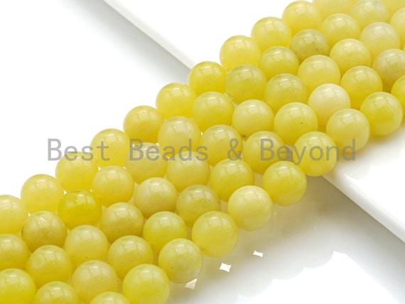 "Natural Lemon Jade , Round Smooth 6mm/8mm/10mm/12mm, 15.5"" Full Strand, sku#U646U642"