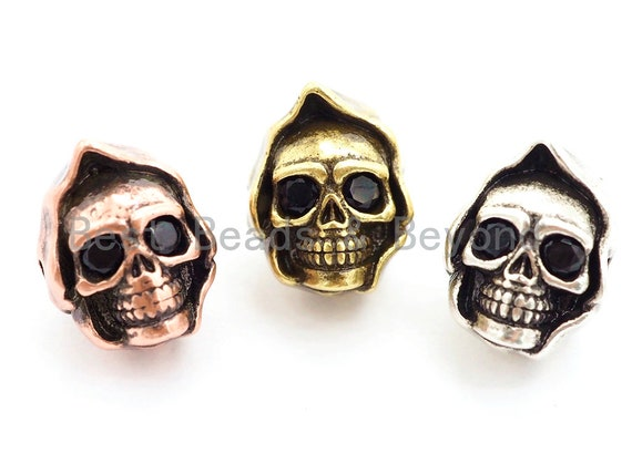 Antique Gold/Silver/Copper Skull with Hat Bead, CZ Pave Double Face Skull, Men's Bracelet Beads, Skull Charm, 10x13x10mm, 1pc, sku#Y137
