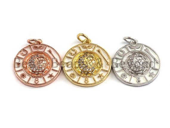 CZ Pave CZ White Enamel Round Disc Charms Pendant, Enamel Pendant,Round Enamel, Oil Drop jewelry Findings, 18x20mm,sku#Z379