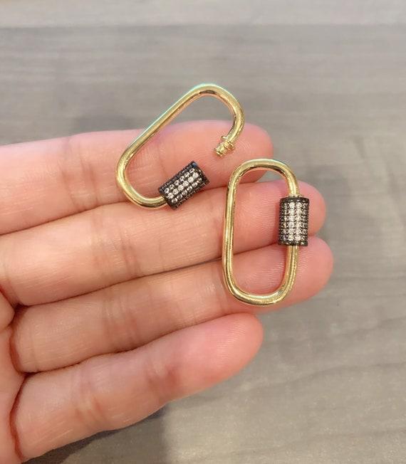 18K Gold Filled Dual Color CZ Pave Oval Shape Clasp, Gold Black Color Carabiner Clasp, Carabiner Lock, 17x30mm, sku#H136D