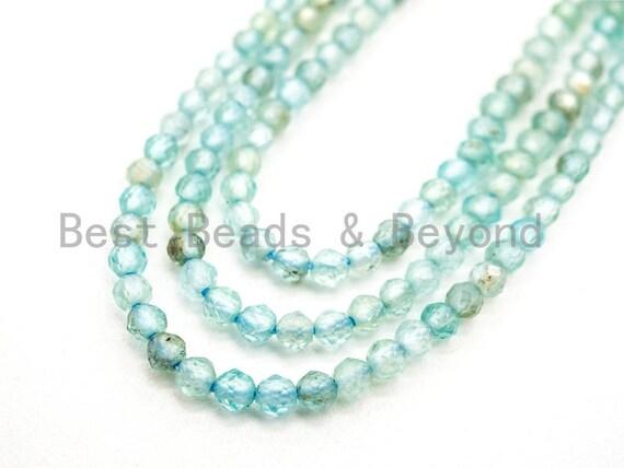 High Quality Natural Aquamarine  Round Faceted beads, 2mm/3mm Aquamarine Gemstone Beads, 15.5inch strand, SKU#U70