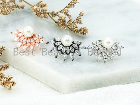 CZ Micro Pave Earring, Pave CZ Pearl Earrings, Cubic Zirconia Earrings, Shinny Wedding Earring,Bridal Earring, 13x21mm,1pair, sku#O48