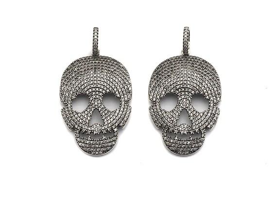 PRE-SELLING   CZ Micro Pave Skull Pendant, Antique Finish Silver Tone, Clear Cubic Zirconia Big Pave Skull Charm Pendant,26x40mm, sku#F986