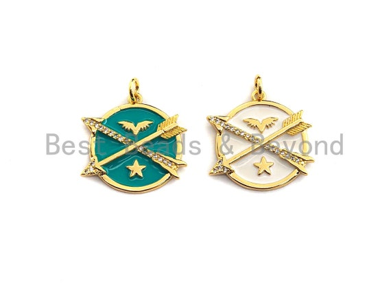 Colorful Enamel Arrows On Round Coin Pendant,CZ Micro Pave Oil Drop pendant,Enamel pendant,Enamel Jewelry,21x21mm,sku#Z521