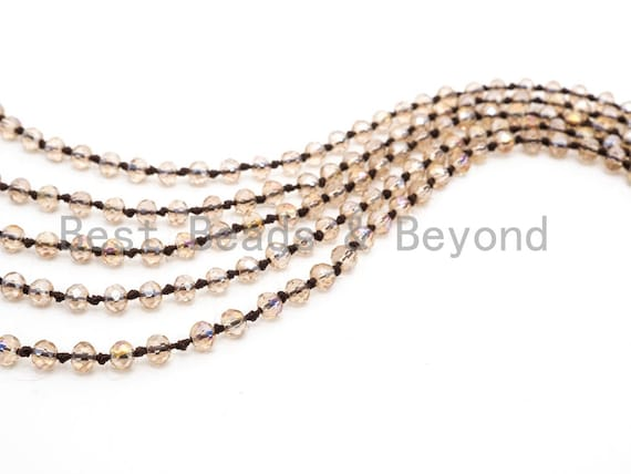 "60""/36"" Long Hand Knotted Crystal Necklace, Double Wrap Necklace, Light Colorado Topaz Color 2x4mm/5x8mm Faceted Crystal Beads,SKU#D23"