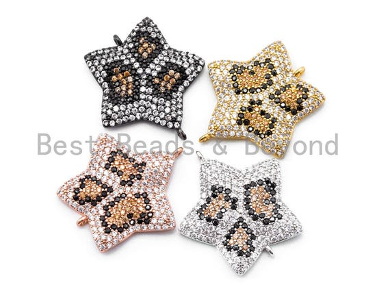 CZ Micro Pave Five Point Star with Brown Dot Connector, CZ pave Charms, 22mm, Sku#E148