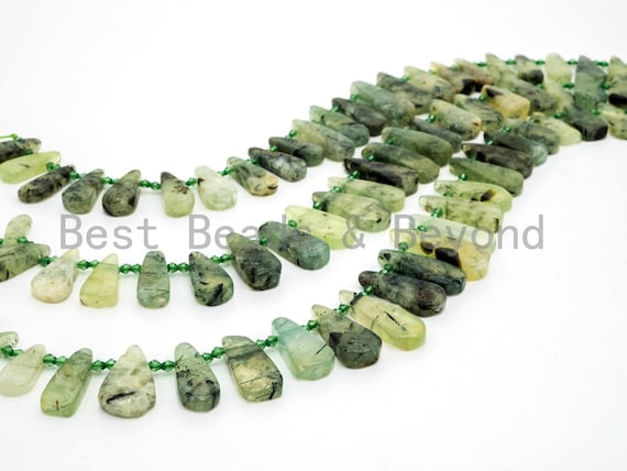 Natural Prehnite Teardrop beads, 23-37mm, Long Teardrop Green Gemstone Beads, 15.5inch strand, SKU#U141