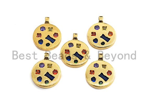 Colorful CZ Micro Pave Coin Shape Pendant,Cubic Zirconia Round Charm, Gold Pendant,16x20mm,sku#Y217