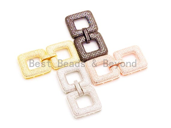 CZ Micro Pave Double Square Multi-Stand Buckle Clasp, Cubic Zirconia Buckle Clasps, Fancy Jewelry Finding, 50x25mm, sku#H12