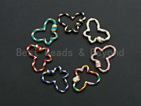 PRESELLING Colorful Enamel Pave Butterfly Shape Clasp, Carabiner Clasp, 19x27mm, sku#H253