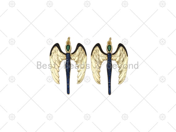 Cobalt Blue CZ Micro Pave Angel Wings Shape Pendant, 18K Gold Filled Green CZ Angel Wing Charm, Necklace Pendant,25x37mm, Sku#L632