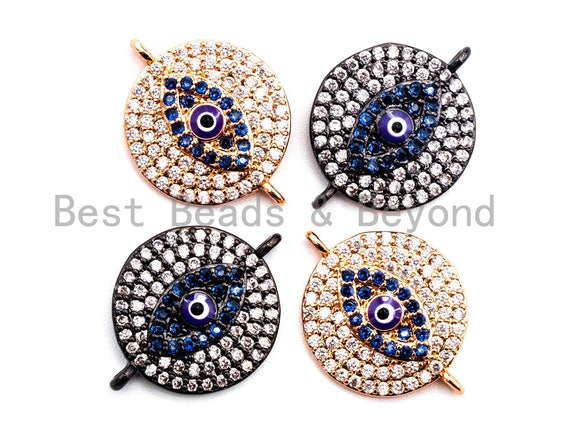 CZ Micro Pave Blue Evil Eyes Coin Connector Beads, Cubic Zirconia Space Connector, Micro pave findings 15x20mm,sku#E354