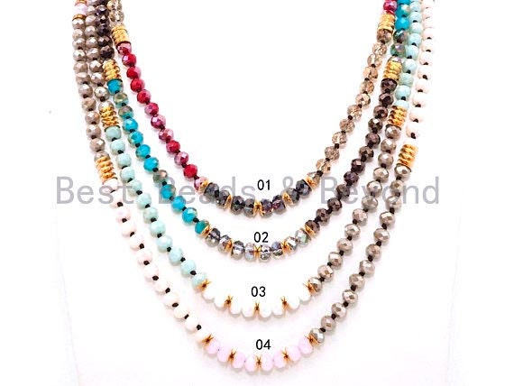 "NEW STYLE 60"" Extra Long Hand Knotted Multi Color Crystal Necklace Chain, 5x8mm Crystal with Brass Spacer Beads, SKU#D25"