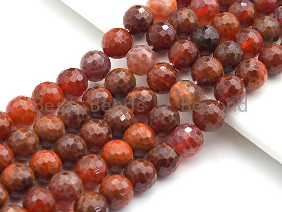"High Quality Natural Fire Agate Round Smooth/Faceted Beads, 6mm/8mm/10mm/12mm, Natural Fire Agate, 15.5""Full Strand, sku#U622"