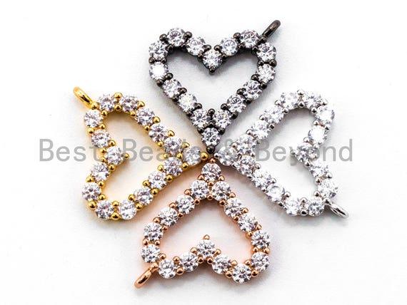 CZ Micro Pave Heart Pendant/Charm, Bracelet Necklace Cubic Zirconia  Heart Pendant Charm, 13x12mm,sku#Y17