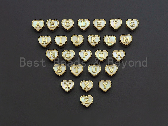 New Trendy Gold Mother of Pearl  A-Z 26 Initials Letter Heart Space Beads, Initial Letter Beads, 7x9x10mm,sku#G420