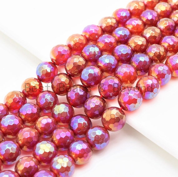 """Etsy Exclusive Mystic Quality Faceted Carnelian Beads,6mm/8mm/10mm, Red Carnelian Beads,15.5"""" Full Strand, SKU#U302"""