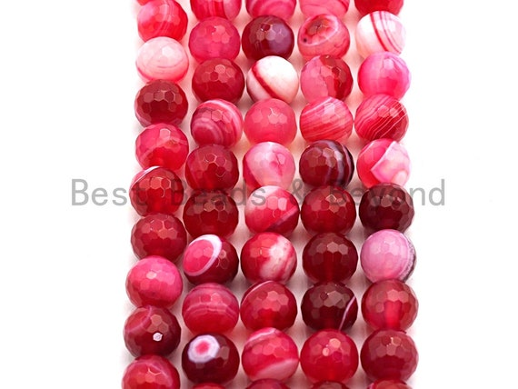 High Quality Faceted Red Banded Agate beads, 6mm/8mm/10mm/12mm Red Agate Gemstone beads, Natural Agate Beads, 15.5inch strand, SKU#U452