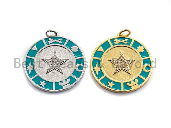 NEW DESIGN Pave CZ Turquoise Enamel Coin Charms, Turquoise Enamel Pendant,Enamel Round Pendant, Oil Drop jewelry Findings,25x27mm,sku#Z396