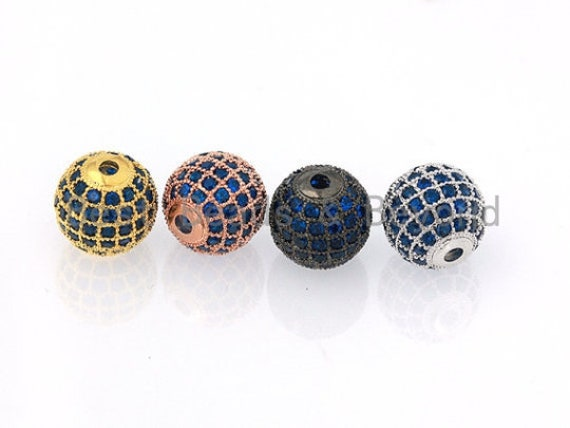 6/8/10/12mm Micro Pave Cobalt Blue CZ Stone Round Ball,  Blue Pave Gold/Silver/Rose Gold/Black Rhodium Bead Focal, Pave Beads, sku#G308B