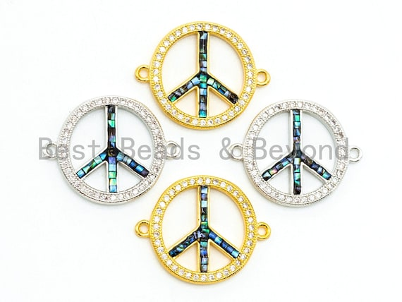CZ Micro Pave Abalone Peace Sign Connector, 24K Gold Silver Plated, Cubic Zirconia Spacer Connector,Pave Findings, 18x23mm, sku#Z32