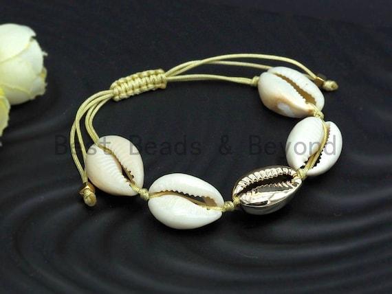 Gold Shell Pull Tie bracelet, Cowrie bracelet Shell anklet, Seashell bracelet, Beach Seashell jewelry, Mothers day Gift for Mom, SKU#V41