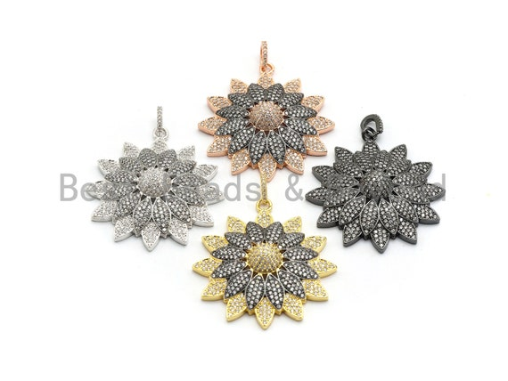 PRE-SELLING 40mm Dual Color Cz Micro Pave Flower Pendant, Cubic Zirconia Pave Floral Pendant in Gold/Rose Gold/Black/Sliver Finish,sku#F662
