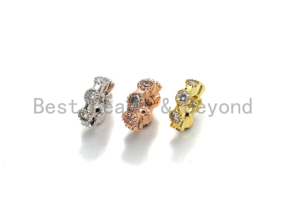 CZ Big Hole Round Ring Flower Micro Pave Beads, Gold/Rose Gold/Silver Cubic Zirconia Spacer Beads, DIY Jewelry, 3x9mm, sku#Z1042