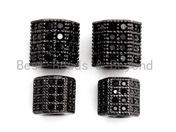 Black CZ Pave On Black Large Hole Hexagon Tube Spacer Beads, Cubic Zirconia Tube Space Beads, Men's Jewelry Findings, 6x6mm/7x7mm, SKU#G329