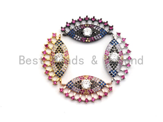 Colorful CZ Micro Pave Evil Eye With Long Eyelashes Connector for Bracelet/Necklace, Evil Eye Connector, 15x28mm,sku#E468