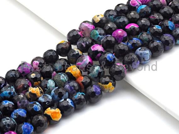 "Fire Agate Beads, Orange Pink Blue Black, 6mm/8mm/10mm/12mm/14mm Faceted Round Natural Gemstone Loose Beads, 15.5"" Full Strand, sku#UA57"