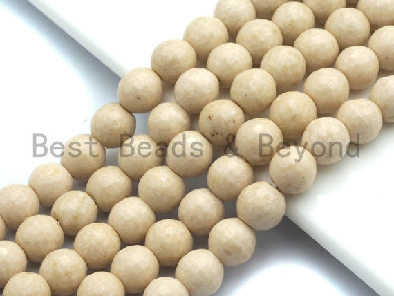 Quality Wood Fossil Faceted Beads, 6mm/8mm/10mm /12mm Cream Round Faceted Beads, Loose Wood Fossil Beads, 15.5inch strand, SKU#U474