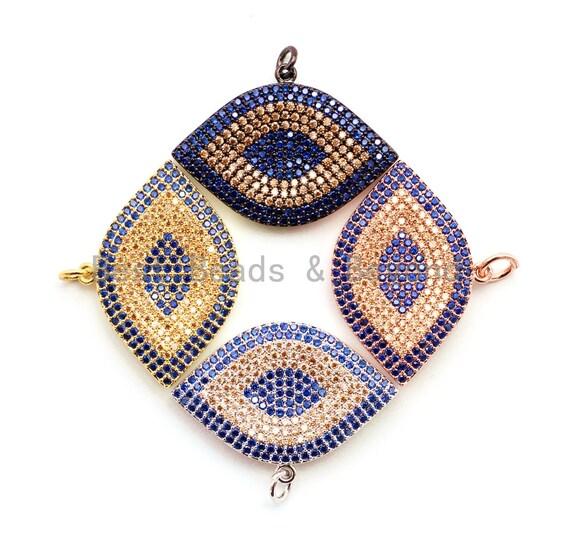 CZ Cobalt Micro Pave Marquise Evil Eyes Pendant, Cubic Zirconia Pendant,32x28mm,sku#F31