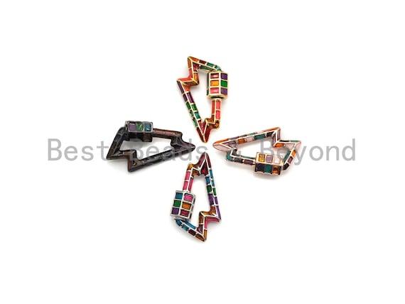 PRESELLING Colorful Enamel pave Lightning Shape Clasp, Enamel Pave Clasp, Gold/Silver/Rose Gold/Gunmetal Carabiner Clasp, 16x26mm, sku#H226