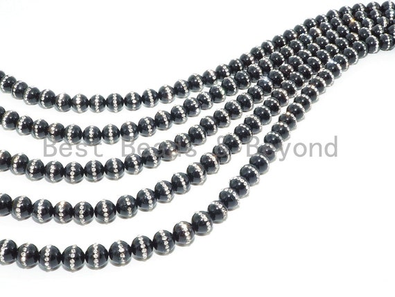 6mm/8mm/10mm/12mm Round Black Onyx with rhinestone inlaid, Natural Gemstone Beads, 15.5inch Full strand, SKU#V18