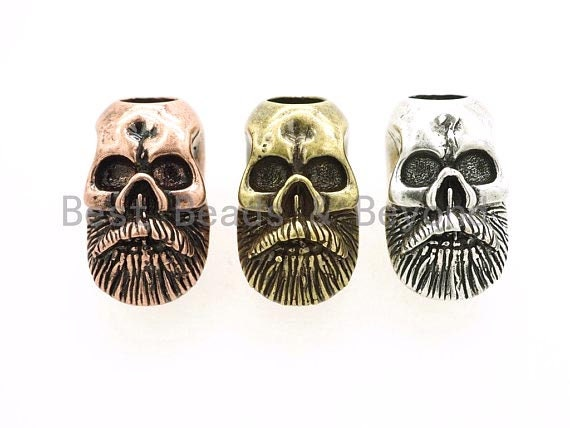 Antique Beard Man Skull Beads, Skull Bead, Paracord Bead Skull Charm, Fit for EDC Survival Bracelet Keychain Lanyard, 13x21x15mm, sku#Y96