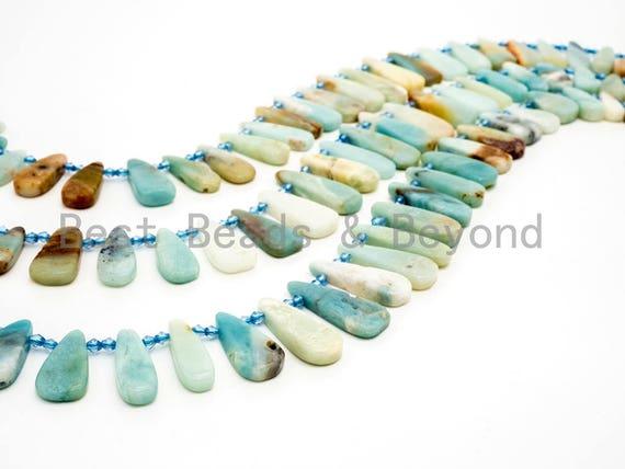 High Quality Natural Amazonite Teardrop beads, 23-36mm, Long Teardrop Blue Gemstone Beads, 15.5inch strand, SKU#U142