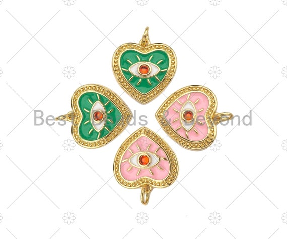 Red CZ Evil Eye On Pink/Green Enamel Heart Gold Pendant,CZ Micro Pave 18K Gold Pendant, Enamel Charm,Enamel Jewelry,15x15mm,Sku#Z1349