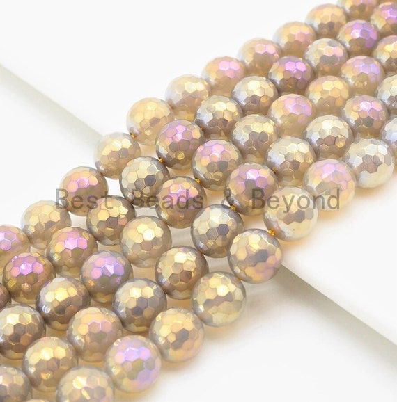 """Etsy Exclusive Mystic Plated Faceted Agate Beads,6mm/8mm/10mm, Multicolor Plated Gray Agate Beads,15.5"""" Full Strand, SKU#U303"""